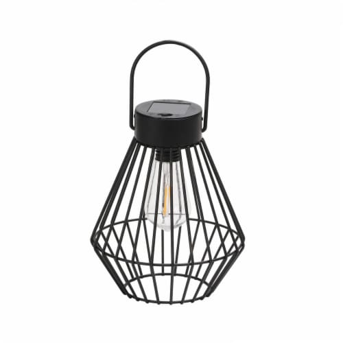 HD Designs Outdoors® Metal Solar Cage Lantern - Black Perspective: front