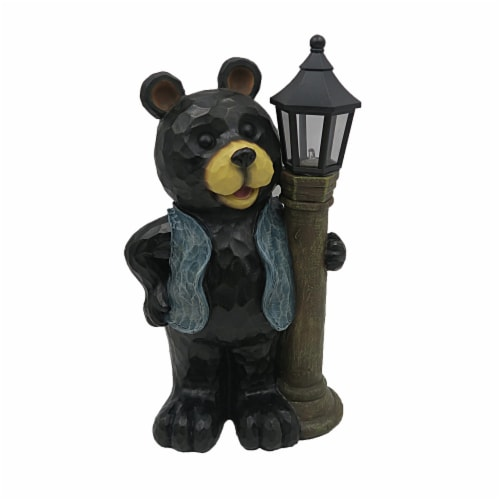 The Joy of Gardening® Solar Bear with Lamp Post Decor - Black Perspective: front
