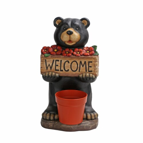 The Joy of Gardening® Solar Welcome Bear Decor - Black Perspective: front