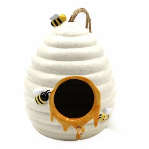 The Joy of Gardening® Ceramic Beehive Birdhouse - Cream Perspective: front