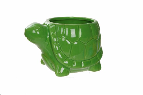 The Joy of Gardening Porcelain Turtle Planter Perspective: front