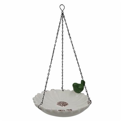 The Joy of Gardening® Ceramic Hanging Birdfeeder - White Perspective: front