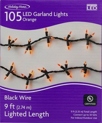 Holiday Home® 105 LED Garland Lights - Orange / Black Perspective: front