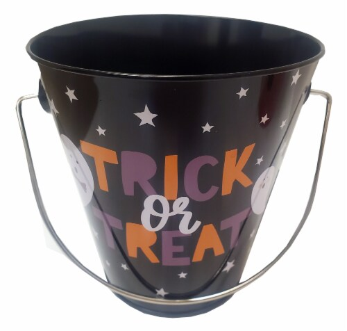 Holiday Home® Halloween Tin Bucket Perspective: front