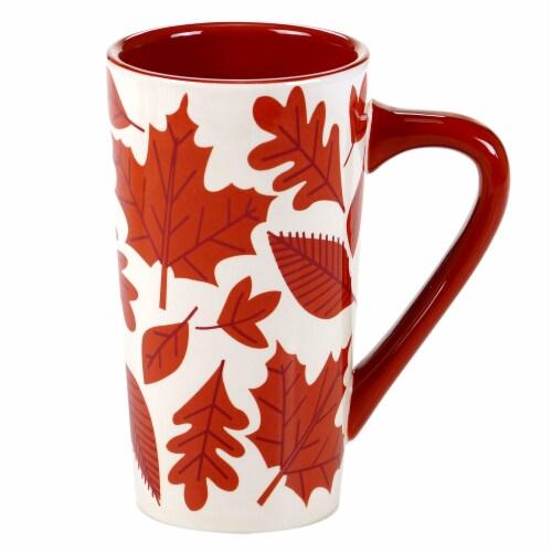 Holiday Home Harvest Latte Mug - Crisp Leaves Perspective: front
