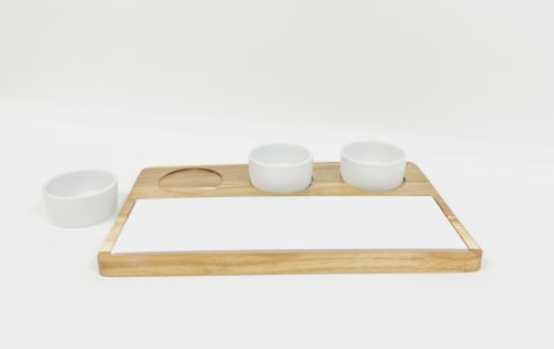 5 Piece Serving Set With Acacia Wood Tray Perspective: front