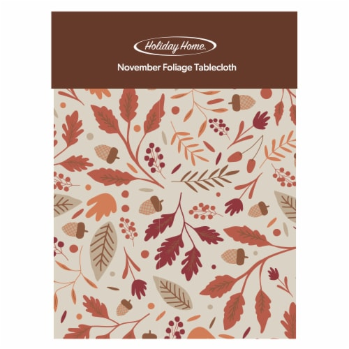 Holiday Home November Foliage Vinyl Tablecloth Perspective: front