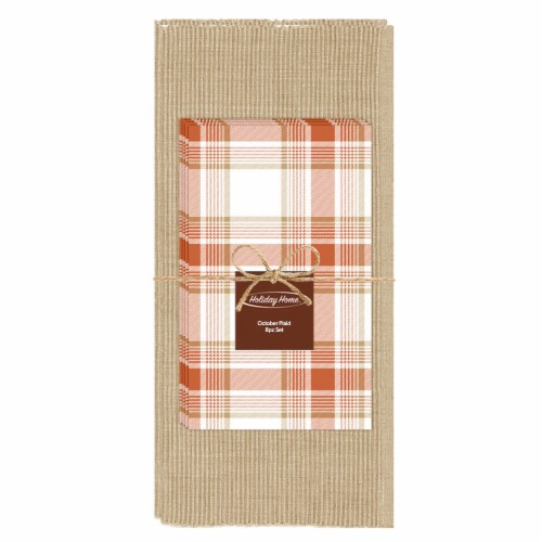 Holiday Home Plaid Placemat and Napkin Set Perspective: front