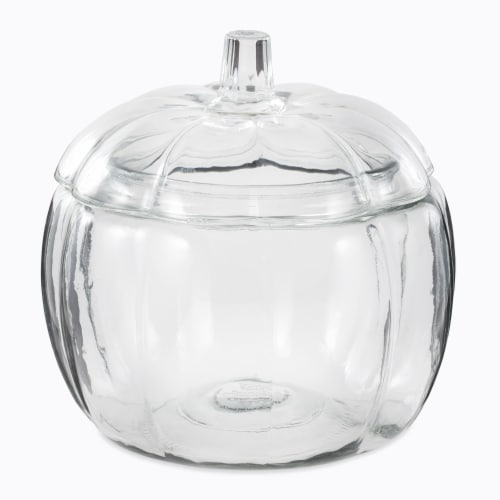 Holiday Home Clear Pumpkin Candy/Cookie Jar Perspective: front