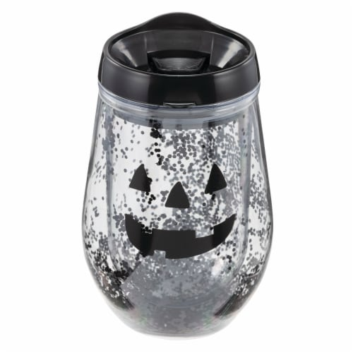 Holiday Home Happy Pumpkin Wine Tumbler - Clear Perspective: front