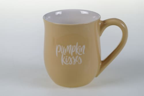 Dash of That Harvest Pumpkin Kisses Coffee Mug Perspective: front