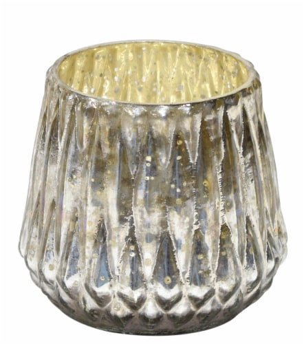 HD Designs® Glass Votive Candle Holder - Silver Perspective: front