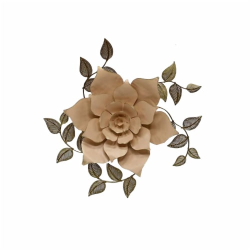 HD Designs Iron Flower with Leaves - Pink Perspective: front