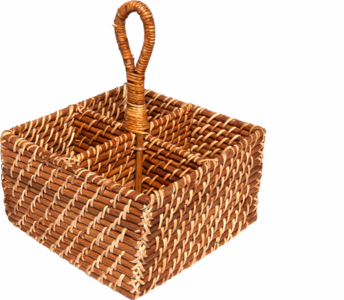 Dash of That Square Rattan Flatware Caddy Perspective: front