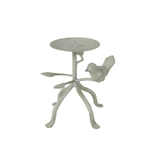 HD Designs® Metal Bird Pillar Candle Holder - Ivory Perspective: front