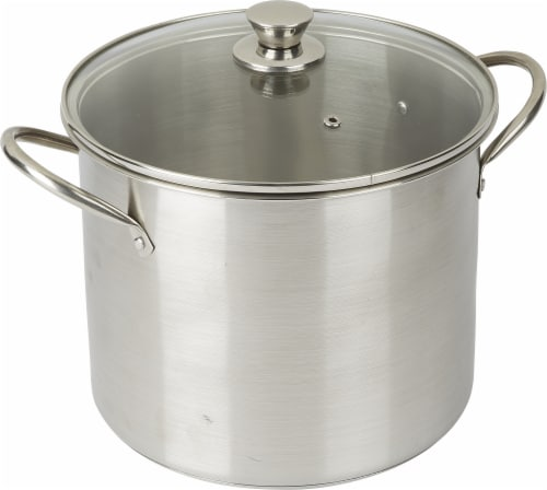 Dash of That Stock Pot with Lid - Silver Perspective: front