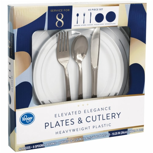 Kroger® Elevated Elegance Heavyweight Plastic Plates & Cutlery Perspective: front