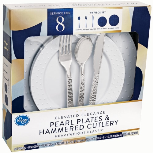 Kroger® Heavyweight Plastic Pearl Plates & Hammered Cutlery Set Perspective: front