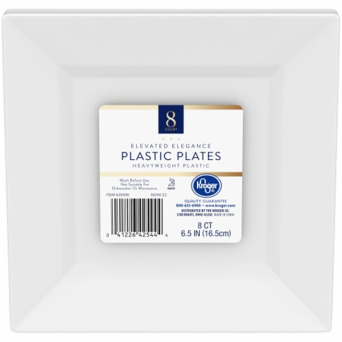 Kroger® Elevated Elegance Heavyweight Plastic Plates - White Perspective: front