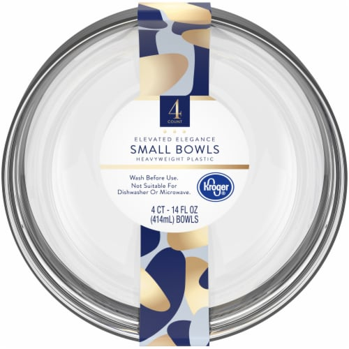 Kroger® Elevated Elegance Heavyweight Plastic Small Bowls - Clear Perspective: front