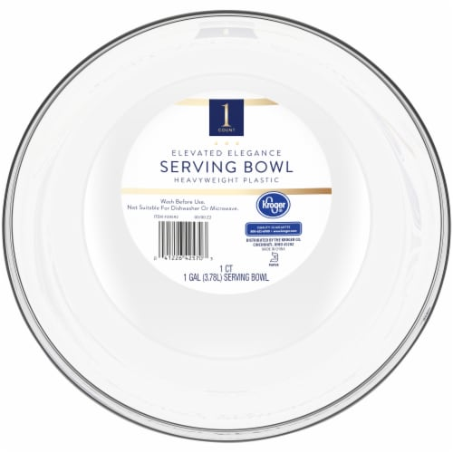 Kroger® Elevated Elegance Heavyweight Plastic Serving Bowl - Clear Perspective: front