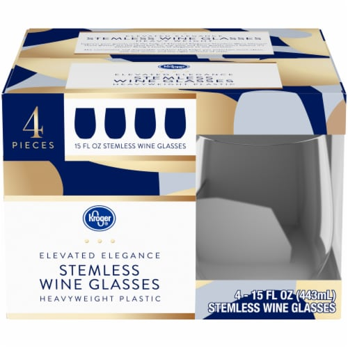 Kroger® Elevated Elegance Heavyweight Plastic Stemless Wine Glasses Perspective: front