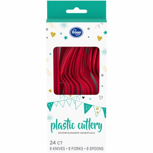 Kroger® Entertainment Essentials Assorted Plastic Cutlery - Red Perspective: front
