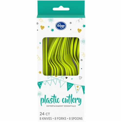 Kroger® Entertainment Essentials Plastic Cutlery - Lime Green Perspective: front