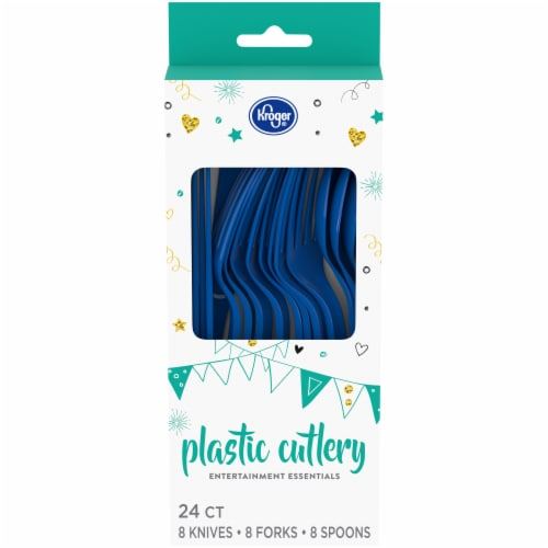Kroger® Entertainment Essentials Plastic Cutlery - Blue Perspective: front
