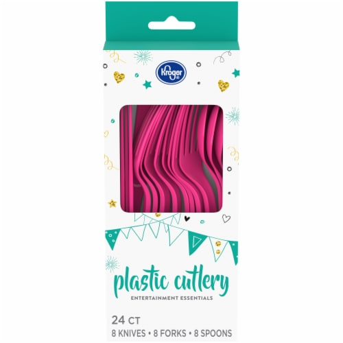 Kroger® Entertainment Essentials Plastic Cutlery - Pink Perspective: front