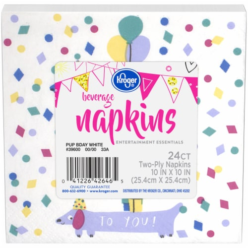 Kroger® Entertainment Essentials Pup Birthday Beverage Napkins - White Perspective: front