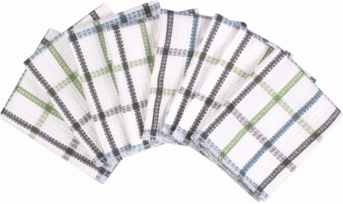 Everyday Living Waffle Weave Dish Cloths - 8 Pack - Blue/Green Perspective: front