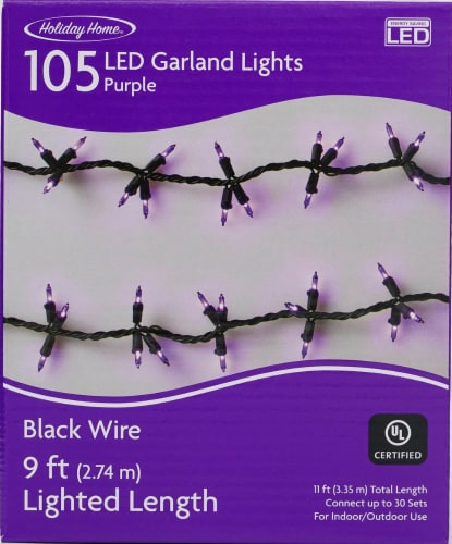 Holiday Home® Garland Lights - Purple Perspective: front