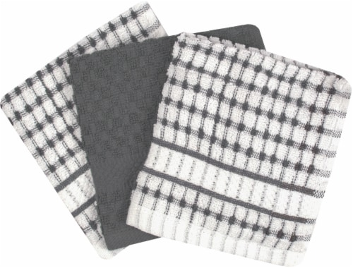 Everyday Living® Popcorn Dish Cloth - 3 pk - Gray Perspective: front