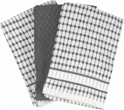 Everyday Living Popcorn Kitchen Towels - 3 Pack - Graphite Perspective: front