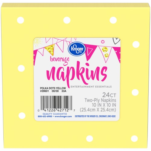Kroger® Entertainment Essentials Polka Dot Beverage Napkins - Yellow Perspective: front