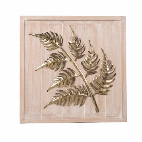 HD Designs Metal Leaf on Wood Wall Art Perspective: front