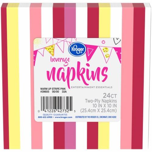 Kroger® Entertainment Essentials Warm Up Stripe Beverage Napkins - Pink Perspective: front