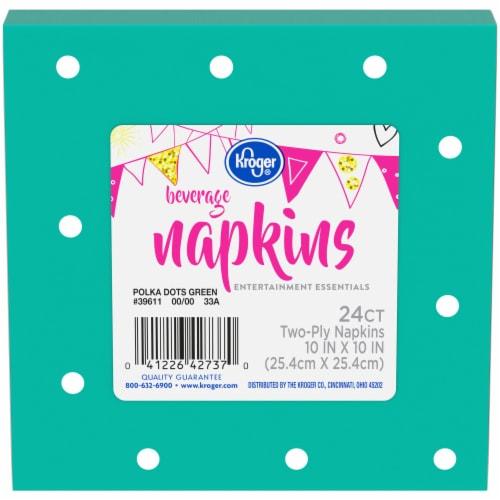 Kroger® Entertainment Essentials Polka Dots Beverage Napkins - Green Perspective: front