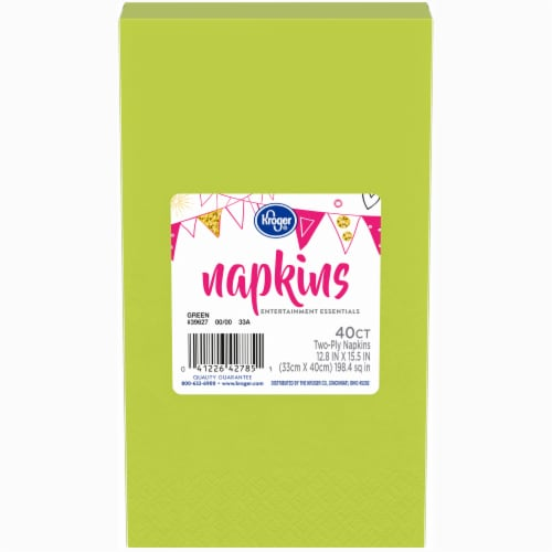 Kroger® Entertainment Essentials Napkins - Green - 40 Pack Perspective: front
