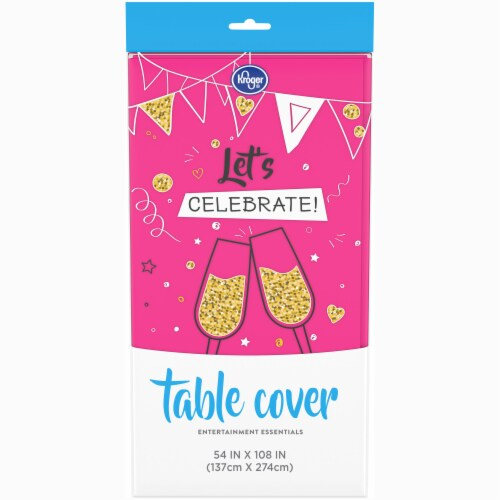 Kroger® Entertainment Essentials Plastic Table Cover - Shocking Pink Perspective: front