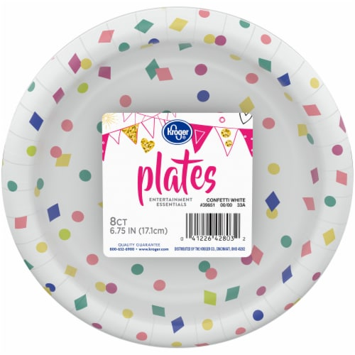 Kroger® Entertainment Essentials Geo Confetti Paper Plates - White Perspective: front