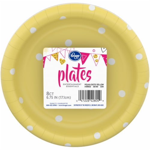 Kroger® Entertainment Essentials Polka Dot Paper Plates - Yellow Perspective: front