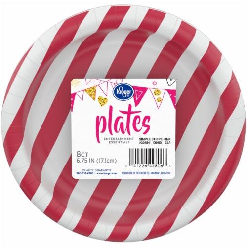 Kroger® Entertainment Essentials Simple Stripe Paper Plates - Pink Perspective: front