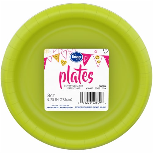 Kroger® Entertainment Essentials Paper Plates - 8 Pack - Lime Green Perspective: front