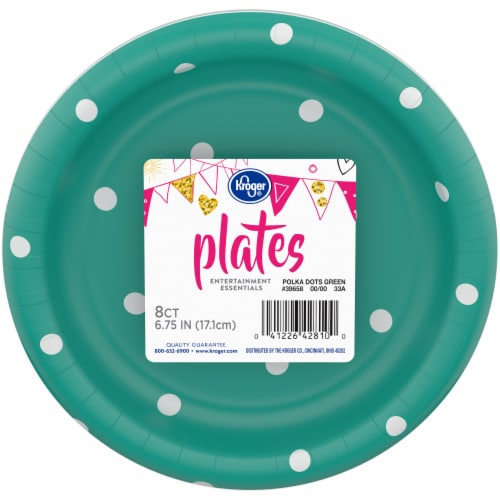 Kroger® Entertainment Essentials Polka Dot Paper Plates - 8 Pack - Green Perspective: front