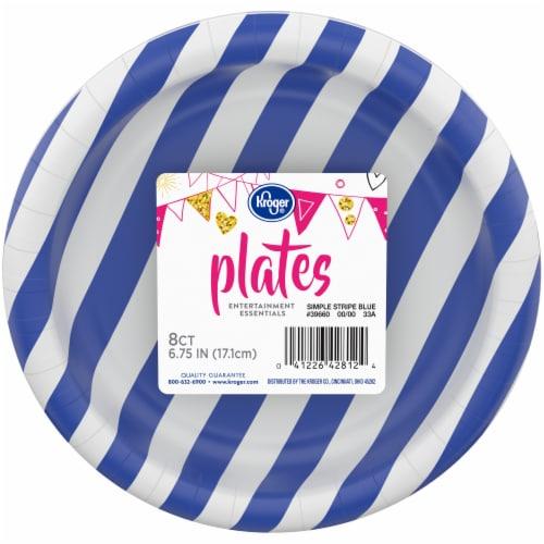 Kroger® Entertainment Essentials Simple Stripe Paper Plates - Blue Perspective: front