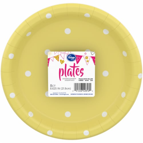 Kroger® Entertainment Essentials Polka Dot Paper Plates - 8 Pack - Yellow Perspective: front