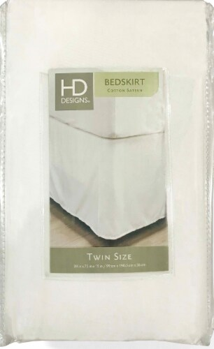 HD Designs® 210 Thread Count Sateen Bedskirt - White Perspective: front