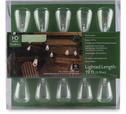 HD Designs Outdoors Edison 20-Bulb String Lights - Clear Perspective: front